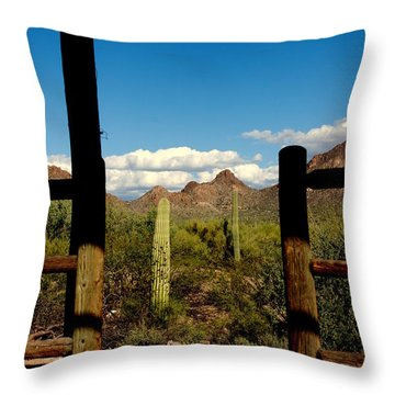 High Chaparral Old Tuscon Arizona  Throw Pillow by Susanne Van Hulst