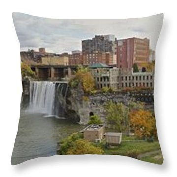 High Falls Panorama Throw Pillow