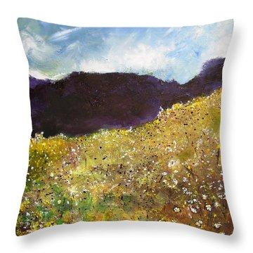 High Field Of Flowers Throw Pillow