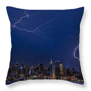 High Voltage In The  New York City Skyline Throw Pillow by Susan Candelario