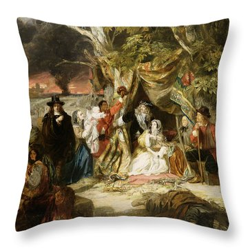 Highgate Fields During The Great Fire Of London In 1666 Throw Pillow by Edward Matthew Ward