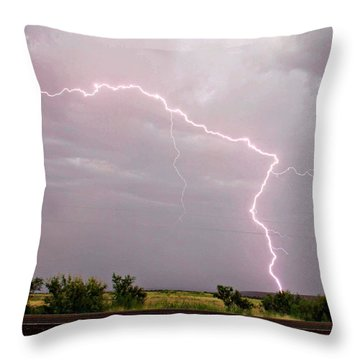 Highway 380 Strike Throw Pillow by Shawn Naranjo