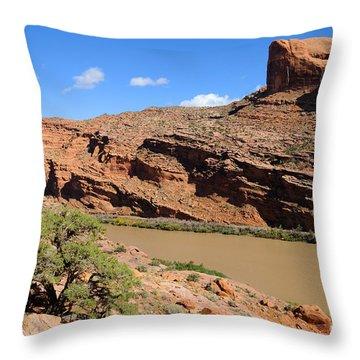 Hiking The Moab Rim Throw Pillow by Gary Whitton