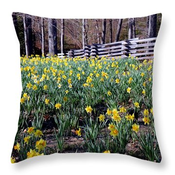 Hills Of Daffodils Throw Pillow