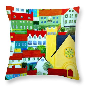 Throw Pillow featuring the painting Hillside Village by Barbara Moignard
