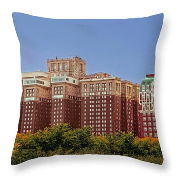 Hilton Chicago And Blackstone Hotel Throw Pillow by Christine Till
