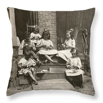 Hine: Home Industry, 1912 Throw Pillow