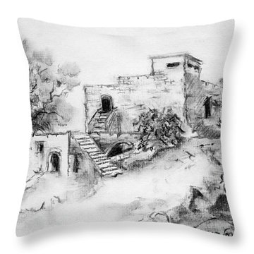 Hirbe Landscape In Afek Black And White Old Building Ruins Trees Bricks And Stairs Throw Pillow