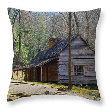 Historic Cabin On Roaring Fork Motor Trail In Gatlinburg Tennessee  Throw Pillow