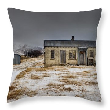 Historic Farm After Snowfall Otago New Throw Pillow by Colin Monteath