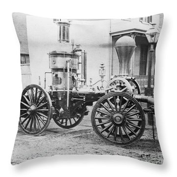 Historic Fire Engine Throw Pillow by Omikron