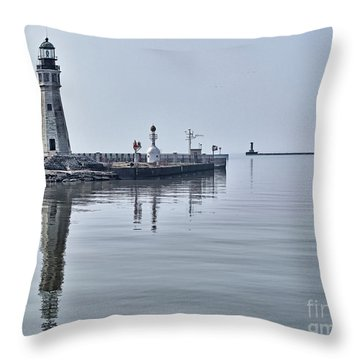 Historic Lighthouse On Lake Erie Throw Pillow by Phil Pantano