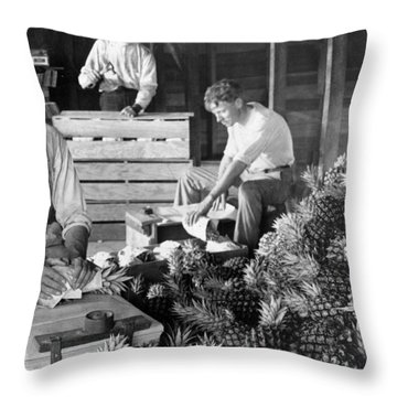 Historic Pineapple Factory - Florida - C 1906 Throw Pillow by International  Images