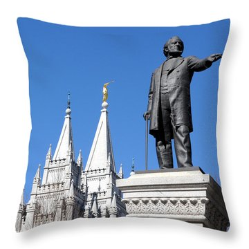 Historic Salt Lake Mormon Lds Temple And Brigham Young Throw Pillow by Gary Whitton