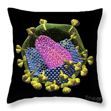 Hiv Structure On Black Throw Pillow by Russell Kightley