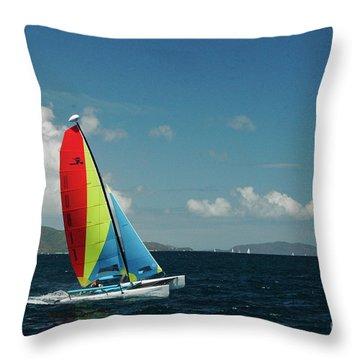 Hobiecat 1 Throw Pillow by Tim Mulina