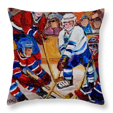 Hockey Game Scoring The Goal Throw Pillow by Carole Spandau