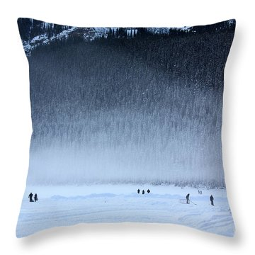 Hockey On Lake Louise Throw Pillow by Alyce Taylor