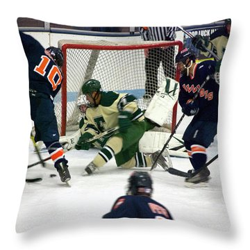 Hockey Two On Four Throw Pillow by Thomas Woolworth