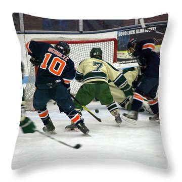 Hockey Two On Two Throw Pillow by Thomas Woolworth