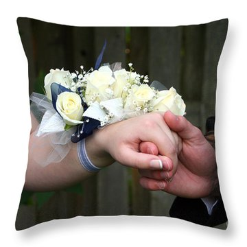 Holding Hand With Wrist Corsage Throw Pillow