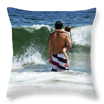 Throw Pillow featuring the photograph Holding On To Uncle Ryan by Maureen E Ritter