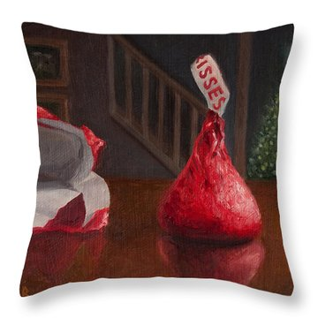 Throw Pillow featuring the painting Holiday Kiss by Joe Winkler