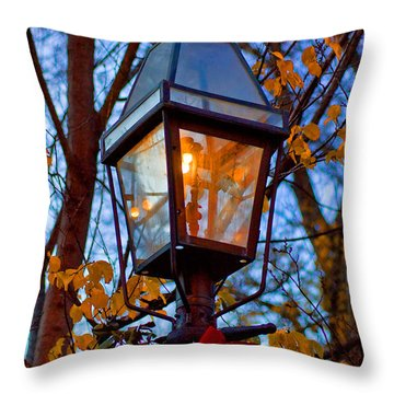 Holiday Streetlamp Throw Pillow by Joann Vitali