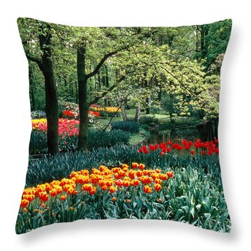 Holland Kuekenhof Garden Throw Pillow by Dale P Hanson and Photo Researchers