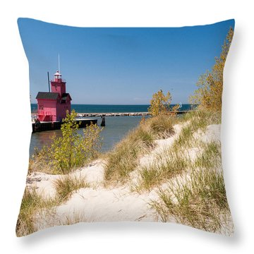 Holland Mi Lighthouse Throw Pillow by Larry Carr