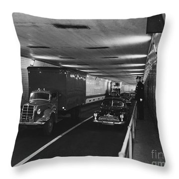 Holland Tunnel, Nyc Throw Pillow by Photo Researchers