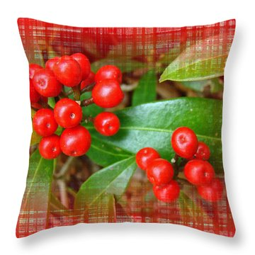 Holly Berries Throw Pillow by Mother Nature