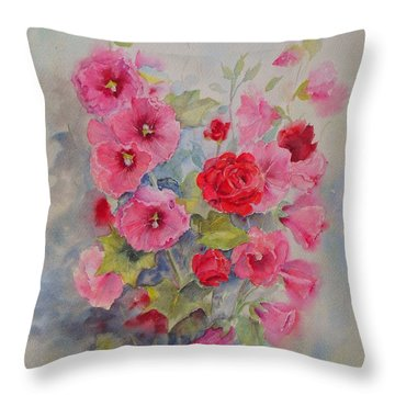 Throw Pillow featuring the painting Hollyhocks And Red Roses by Beatrice Cloake