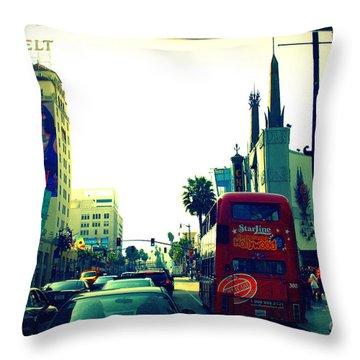 Hollywood Boulevard In La Throw Pillow by Susanne Van Hulst