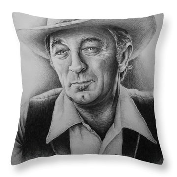 Hollywood Greats -robert Mitchum Throw Pillow by Andrew Read