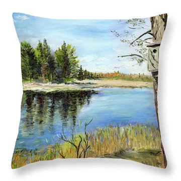 Home At Dragonfly Pond Throw Pillow