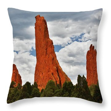 Home Of The Weather God - Garden Of The Gods - Colorado City Throw Pillow by Christine Till