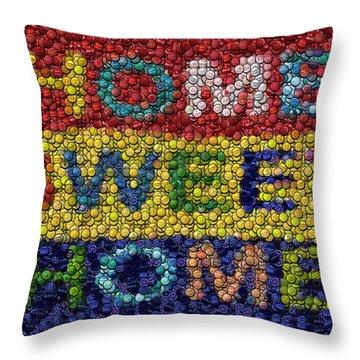 Home Sweet Home Bottle Cap Mosaic  Throw Pillow by Paul Van Scott