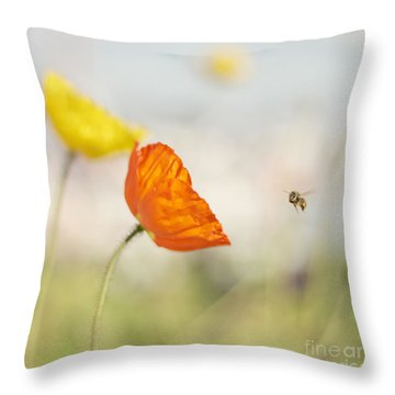 Honey Bee And Colorful Poppies Throw Pillow