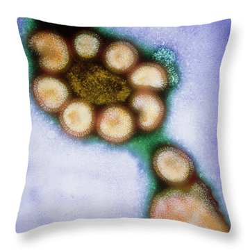 Hong Kong Flu Viruses Throw Pillow by Science Source