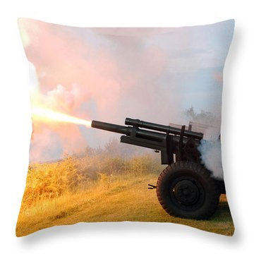 Honor Guard Members Fire A 105 Mm Throw Pillow by Stocktrek Images