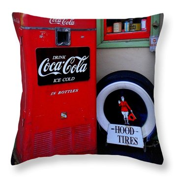 Hood Tires Cocacola Throw Pillow by Randall Weidner
