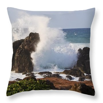 Hookipa Beach Wave 1 Throw Pillow by Teresa Zieba