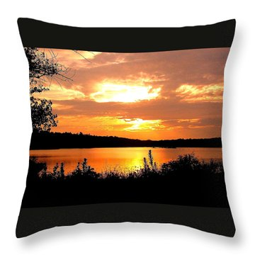 Horn Pond Sunset 2 Throw Pillow