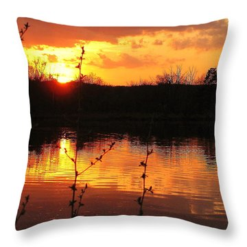 Horn Pond Sunset 8 Throw Pillow
