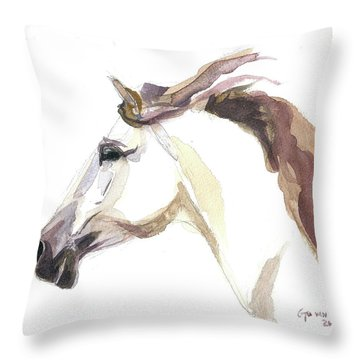 Throw Pillow featuring the painting Horse - Julia by Go Van Kampen