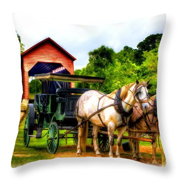 Horse And Buggy In Front Of Covered Bridge Throw Pillow by Dan Friend