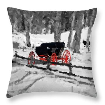 Throw Pillow featuring the photograph Horse And Buggy - No Work Today - Abstract by Janice Adomeit