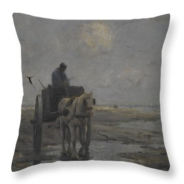Horse And Cart Throw Pillow by Evert Pieters