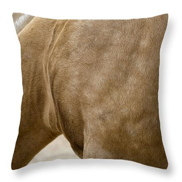 Throw Pillow featuring the photograph Horse Bending Neck by Lorraine Devon Wilke